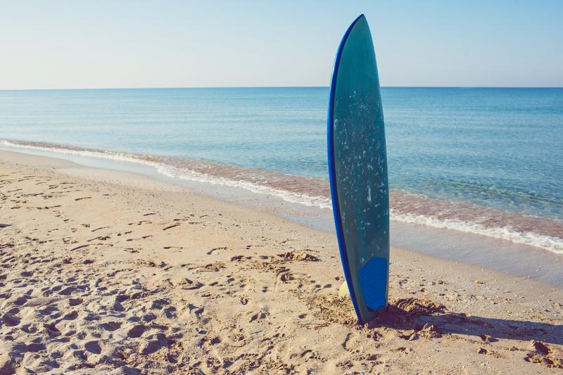 surfboard on sand