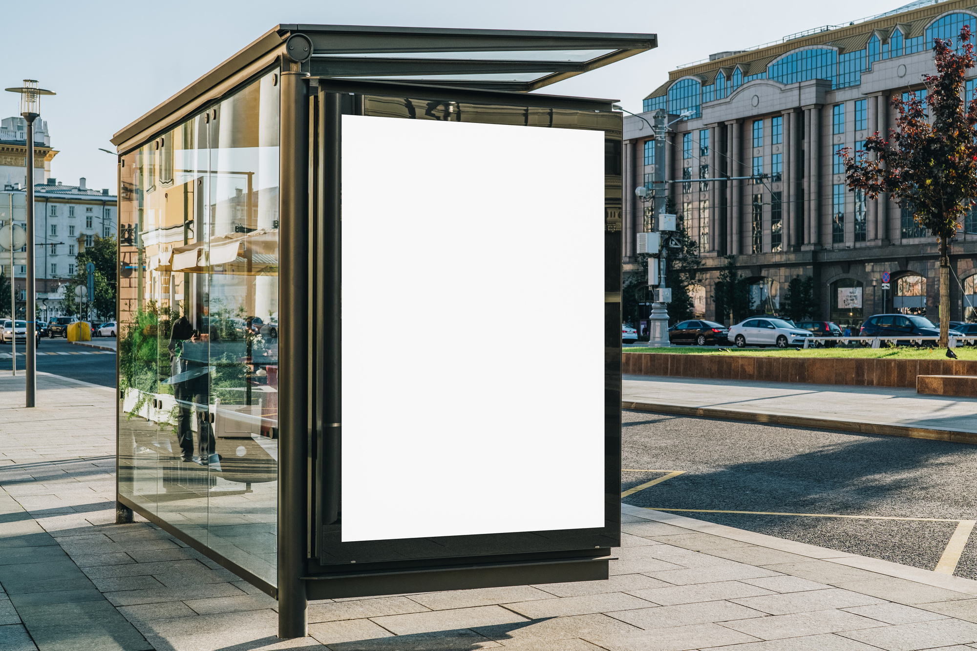 blank sign on bus stop