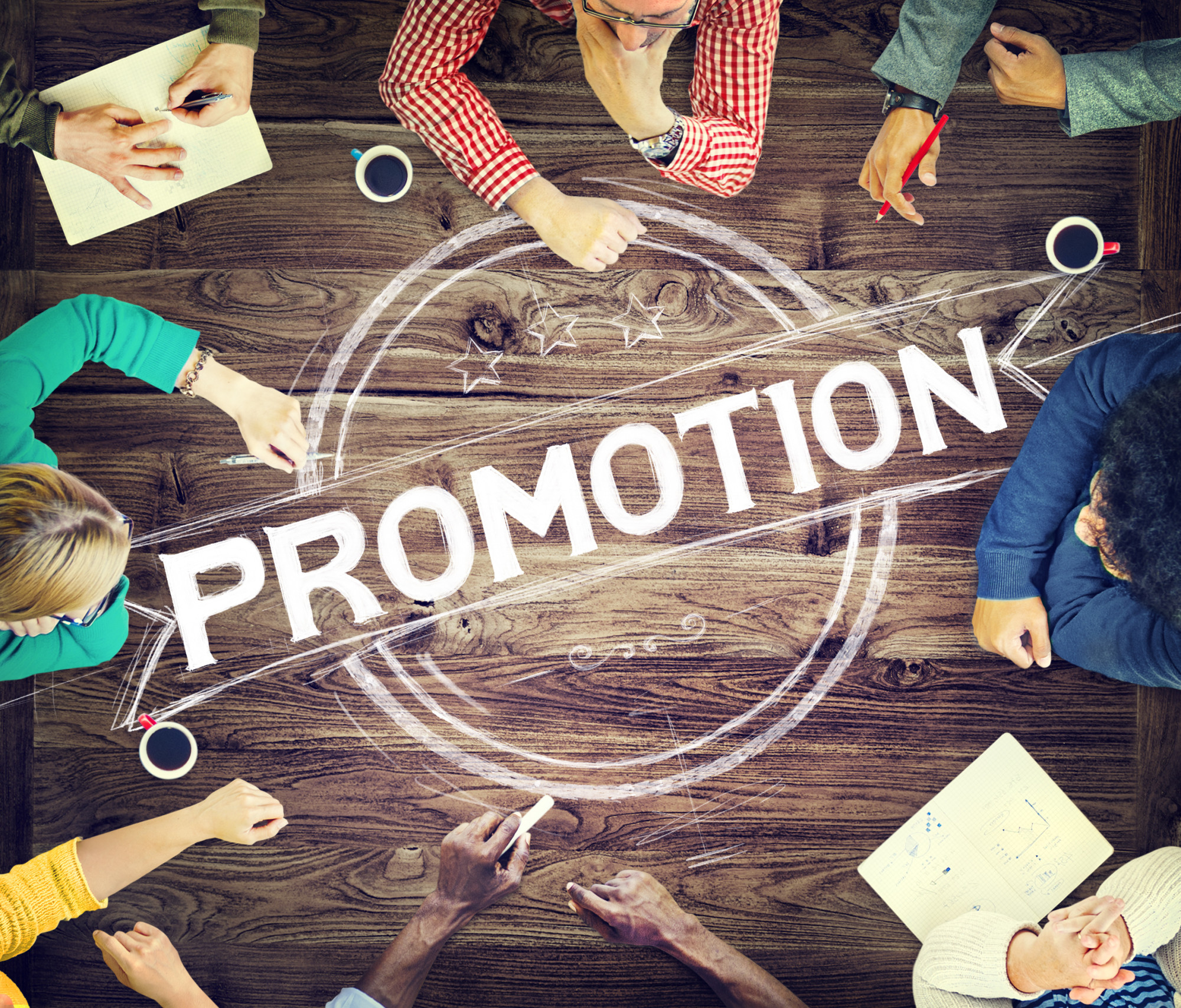 promotion text and group of people