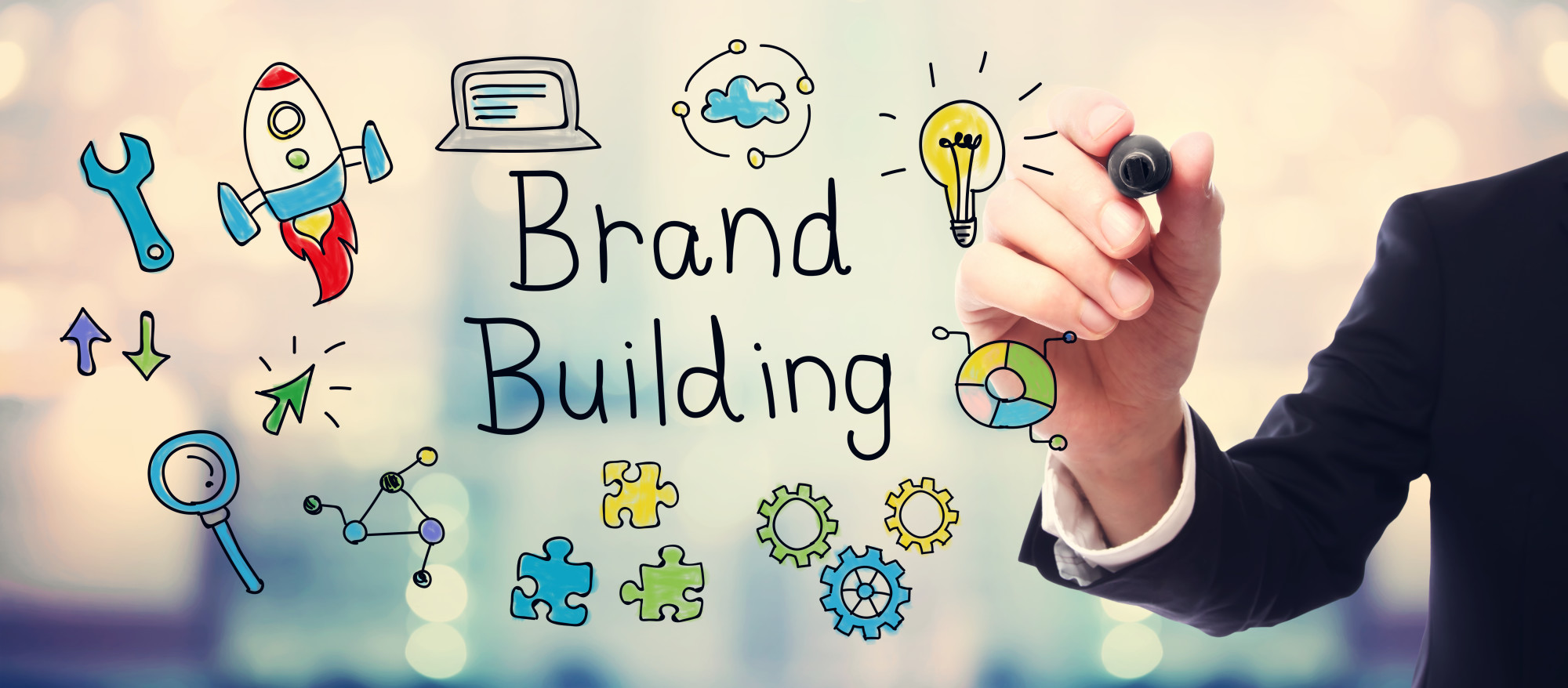 brand building text and icons