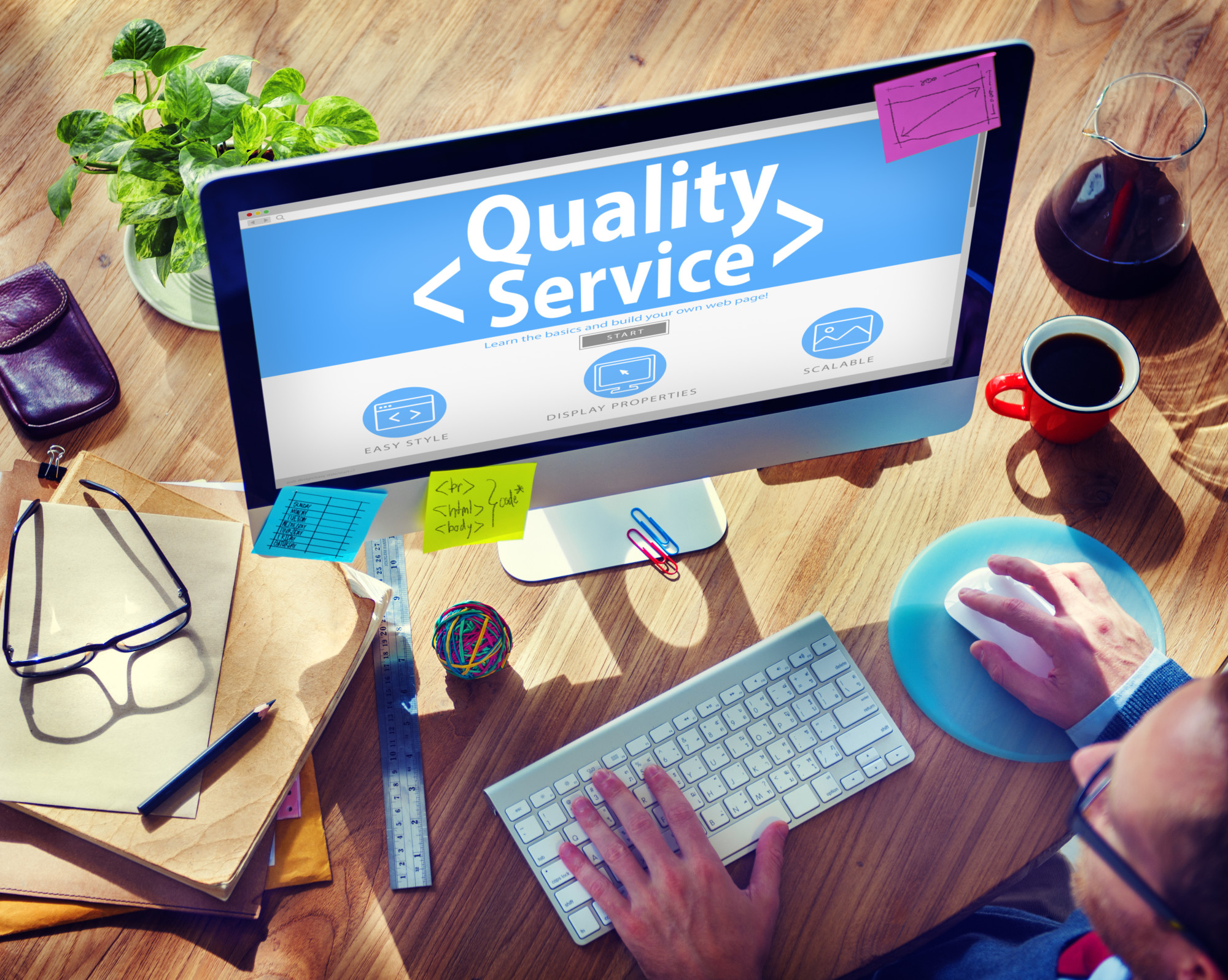 quality service website on computer