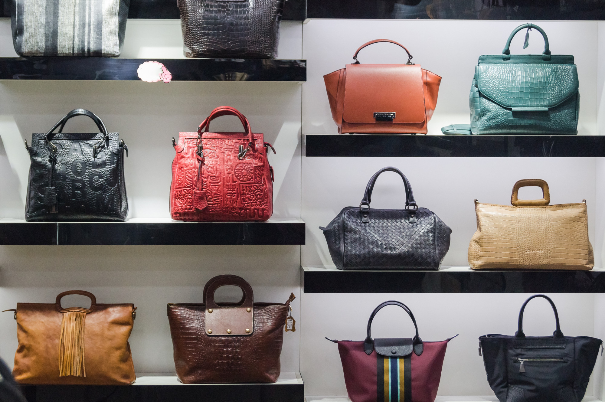 Various Handbags Displayed