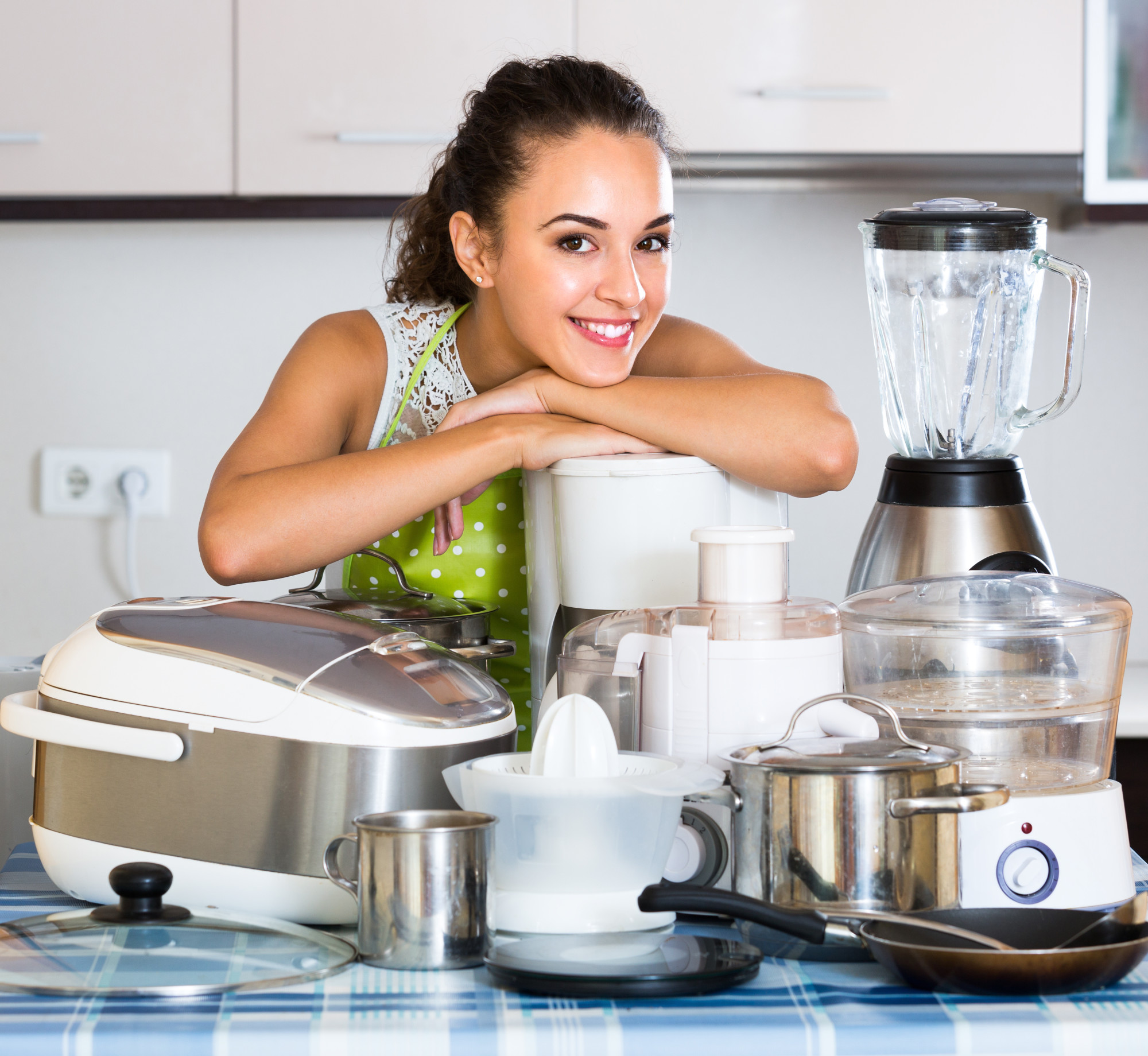 Woman Posing With Appliances